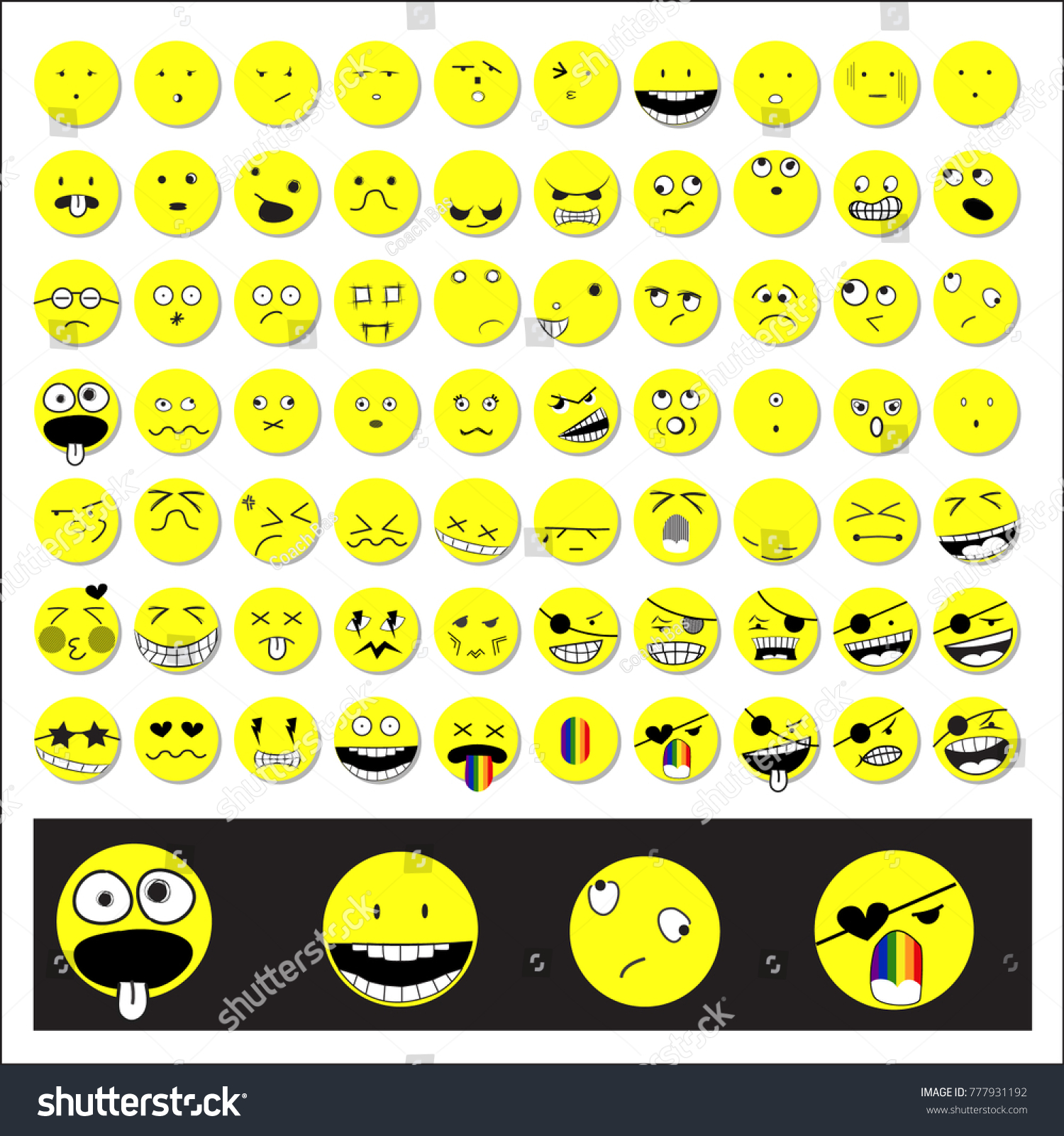 Great Set70 Anime Emotion Isolated On White Emoji For Web Pirate And Compassion