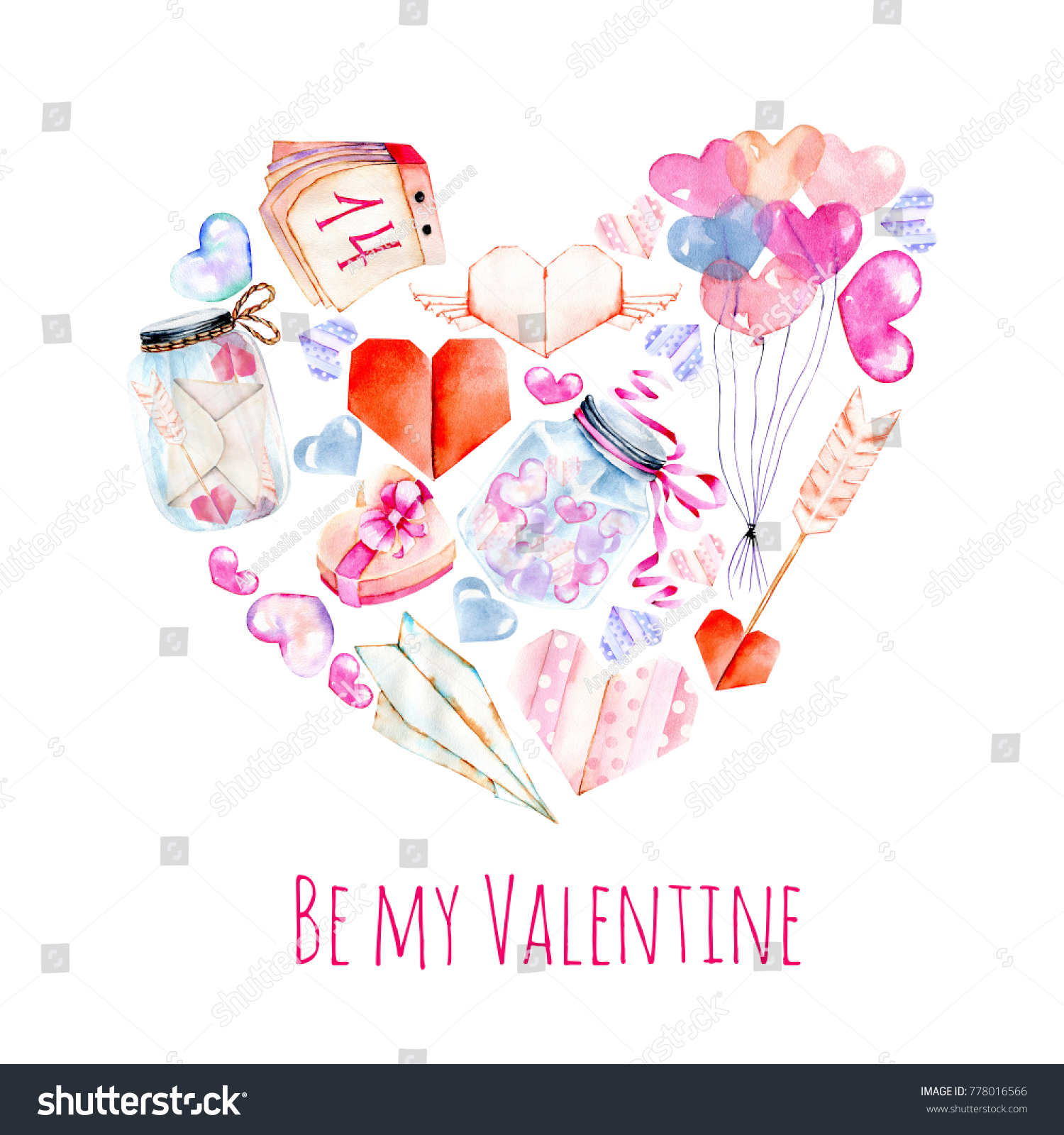 Watercolor valentines day elements greeting card stock watercolor valentines day elements greeting card hearts origami arrow gift box jeuxipadfo Choice Image