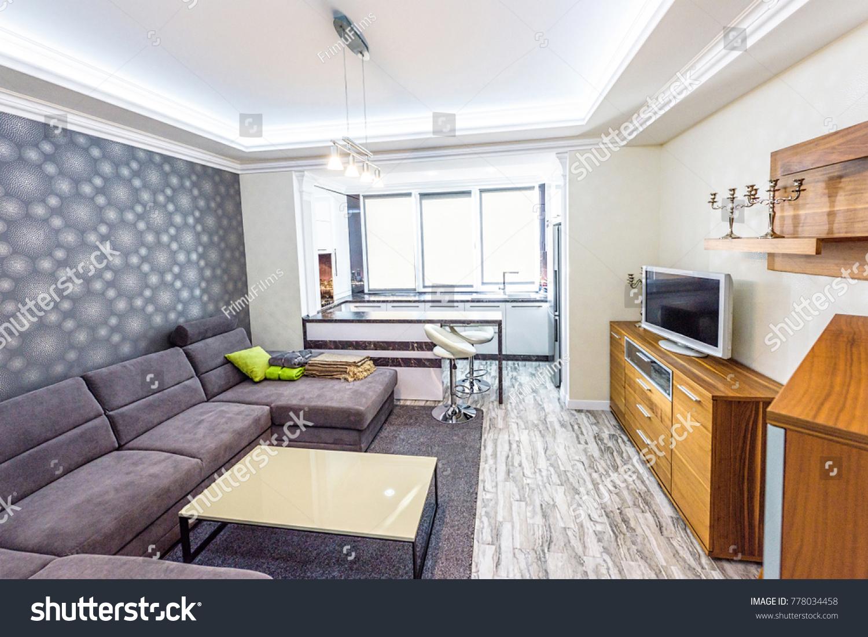 White Apartment Interior Design Living Room Stock Photo (100% Legal ...