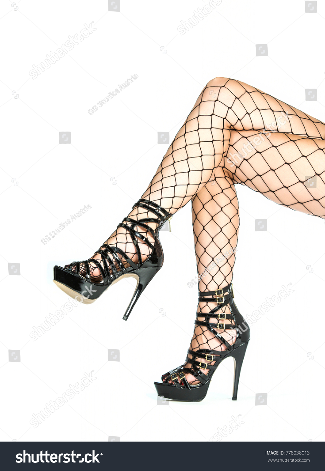 Legs Woman Shiny Black Platform High Stock Photo Edit Now 778038013