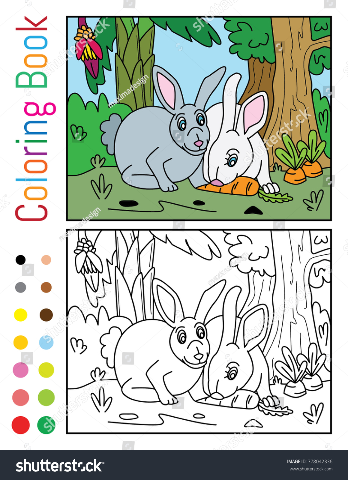 Cute Rabbits Eating Carrot Coloring Book Stock Vector 778042336 ...