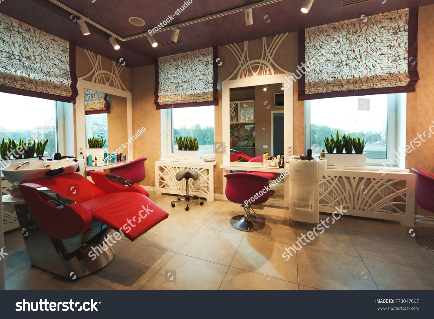 modern beauty salon furniture. Interior Of New Modern Beauty Salon. Professional Mirrors And Chairs At Empty Hairdressers Studio Salon Furniture U