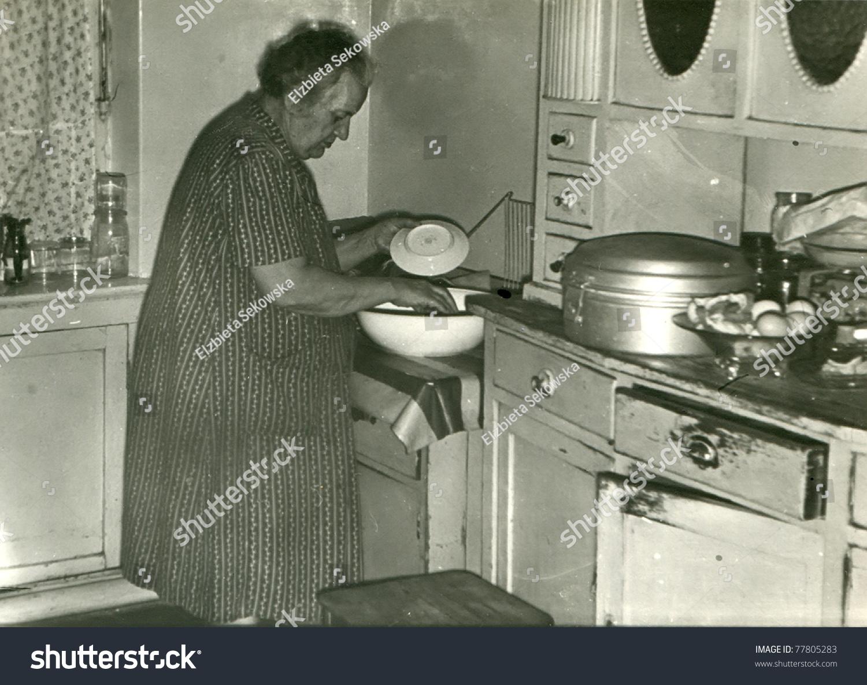 Old Fashioned Kitchen Vintage Photo Elderly Woman Washing Dishes Stock Photo 77805283