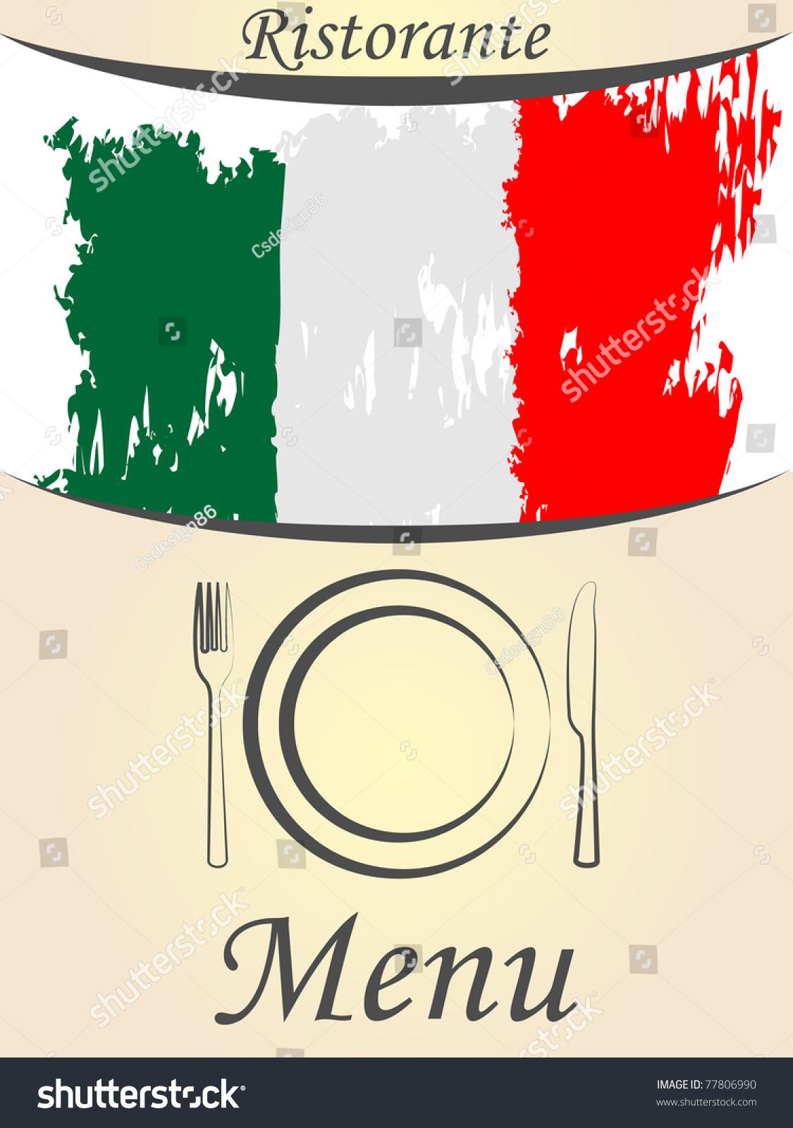 Italian Restaurant Logo With Flag: Italian Menu Card Stock Vector 77806990