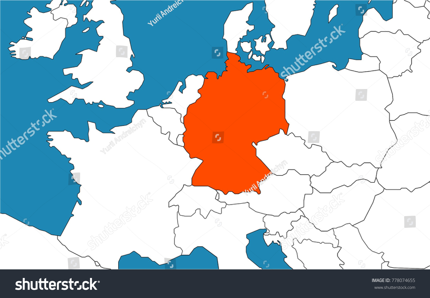germany on map europe stock vector shutterstock