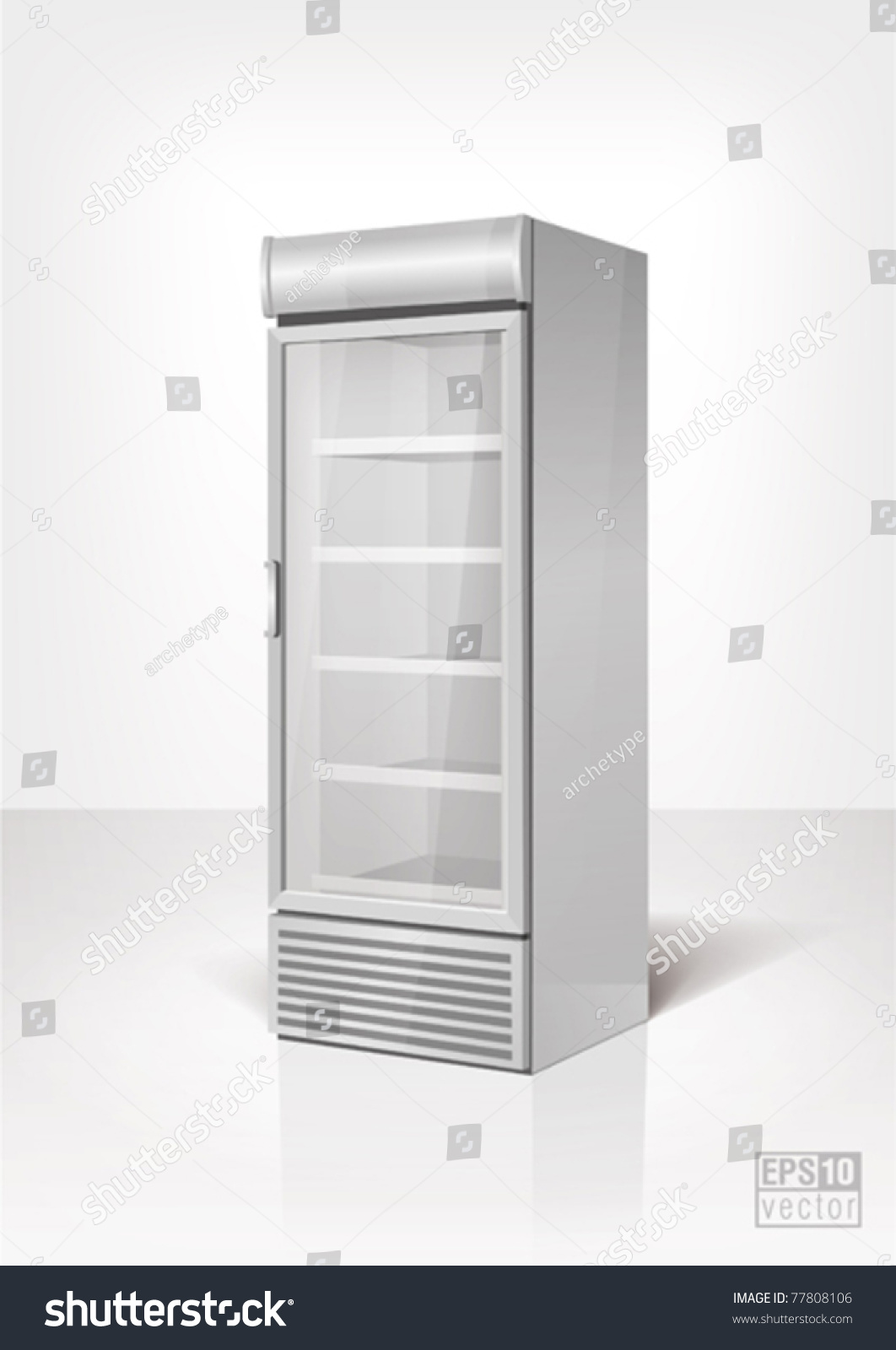Drink Display Fridge With Glass Door Eps10 Vector