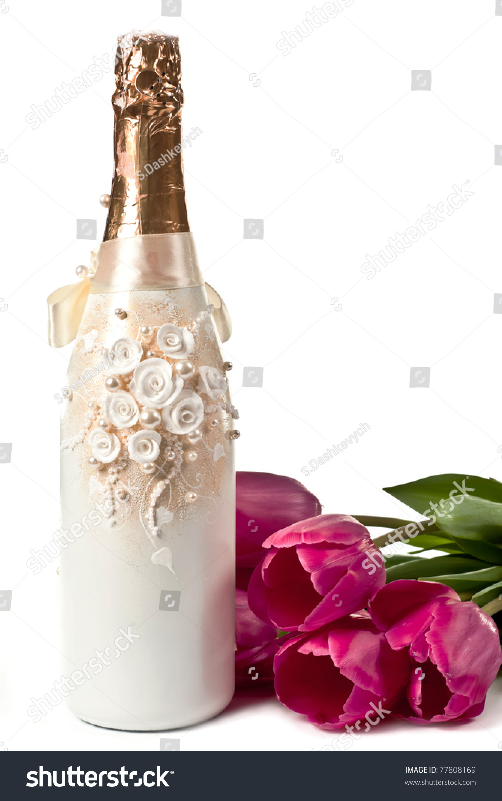 Beautiful Bottle Champagne Tulips Isolated On Stock Photo Edit Now