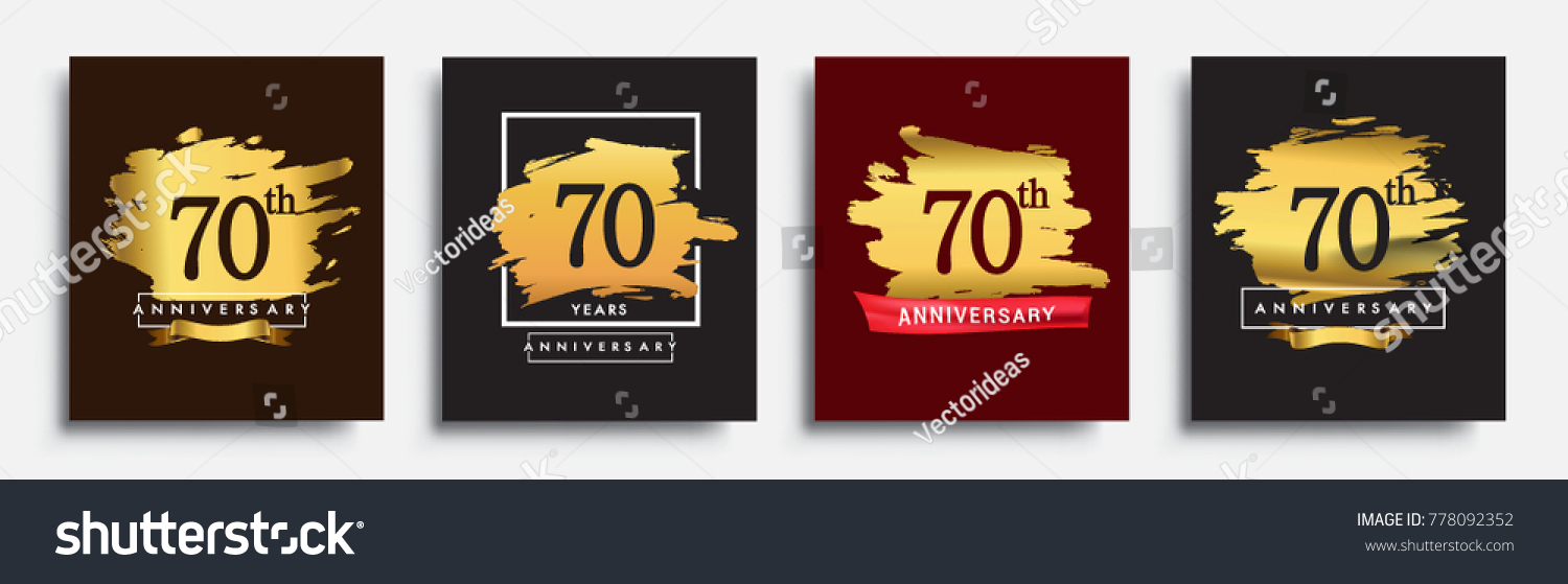 Set Of Anniversary Logo 70th Template Design On Golden Brush Background Vector