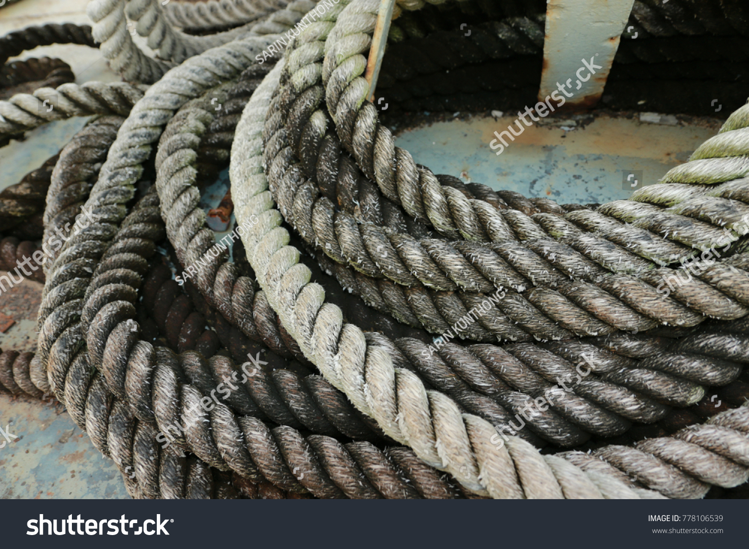 Old Wire Rope On Battleship Decommissioned Stock Photo (Royalty Free ...
