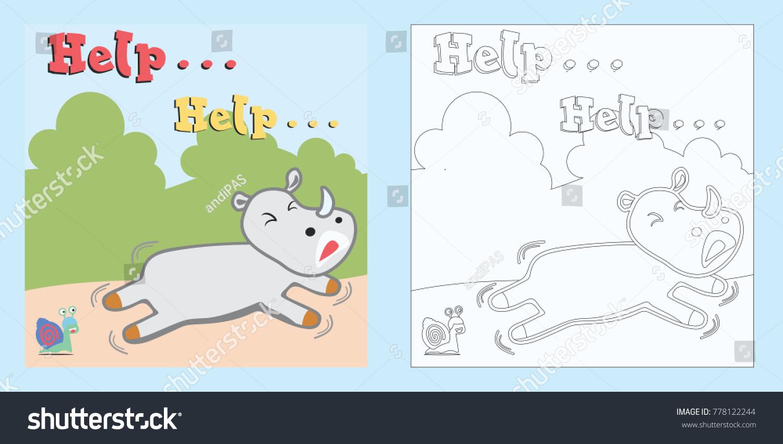 Vector Cartoon Cowardly Rhinocoloring Page Book Stock Vector ...
