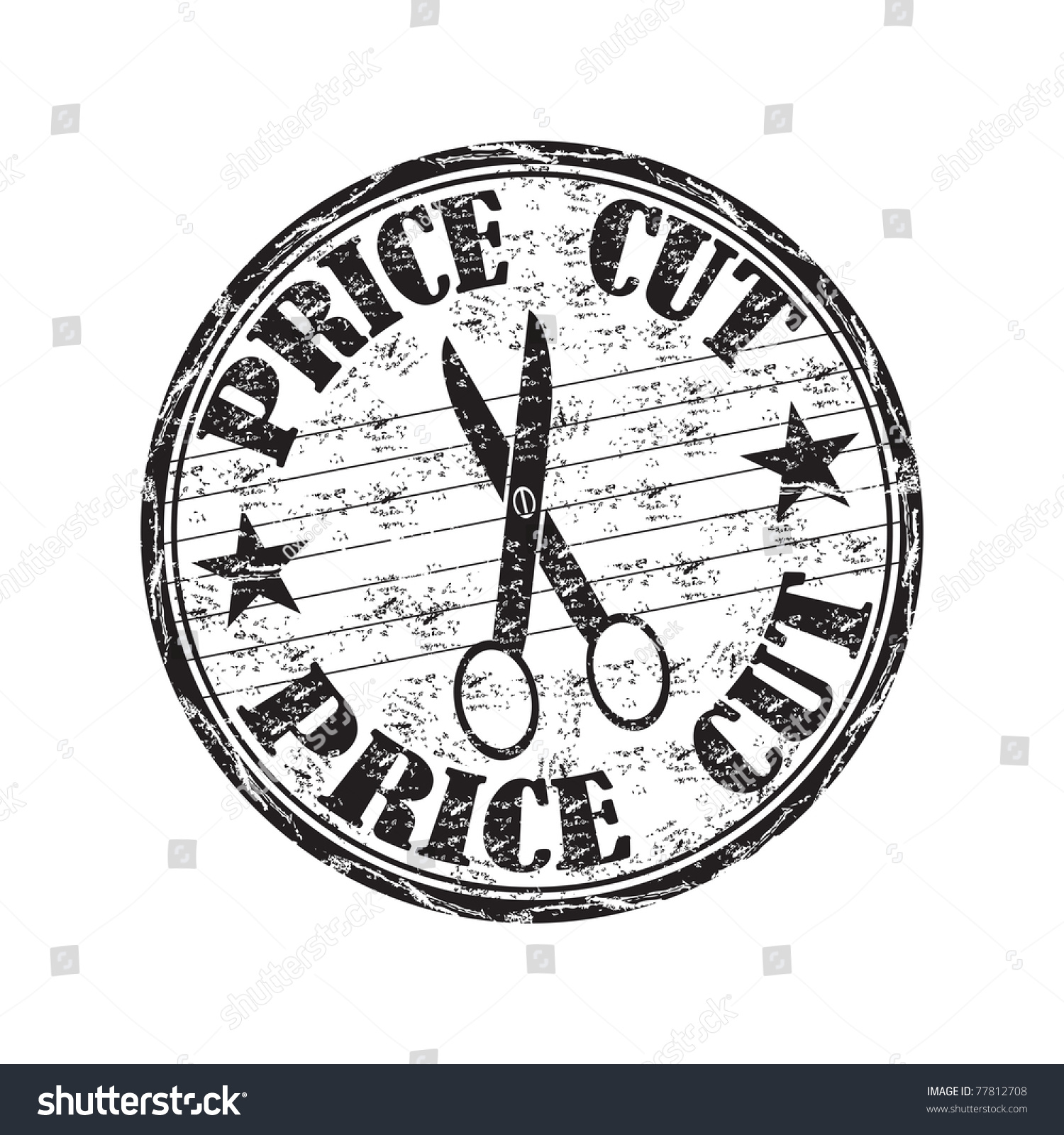 Black grunge rubber stamp scissor text stock vector 77812708 black grunge rubber stamp with scissor and the text price cut written inside the stamp biocorpaavc