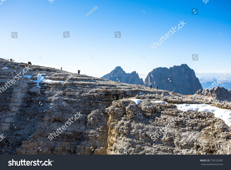 Sass Pordoi Plateaushaped Massif Mountain Sella Stock Photo (Royalty ...