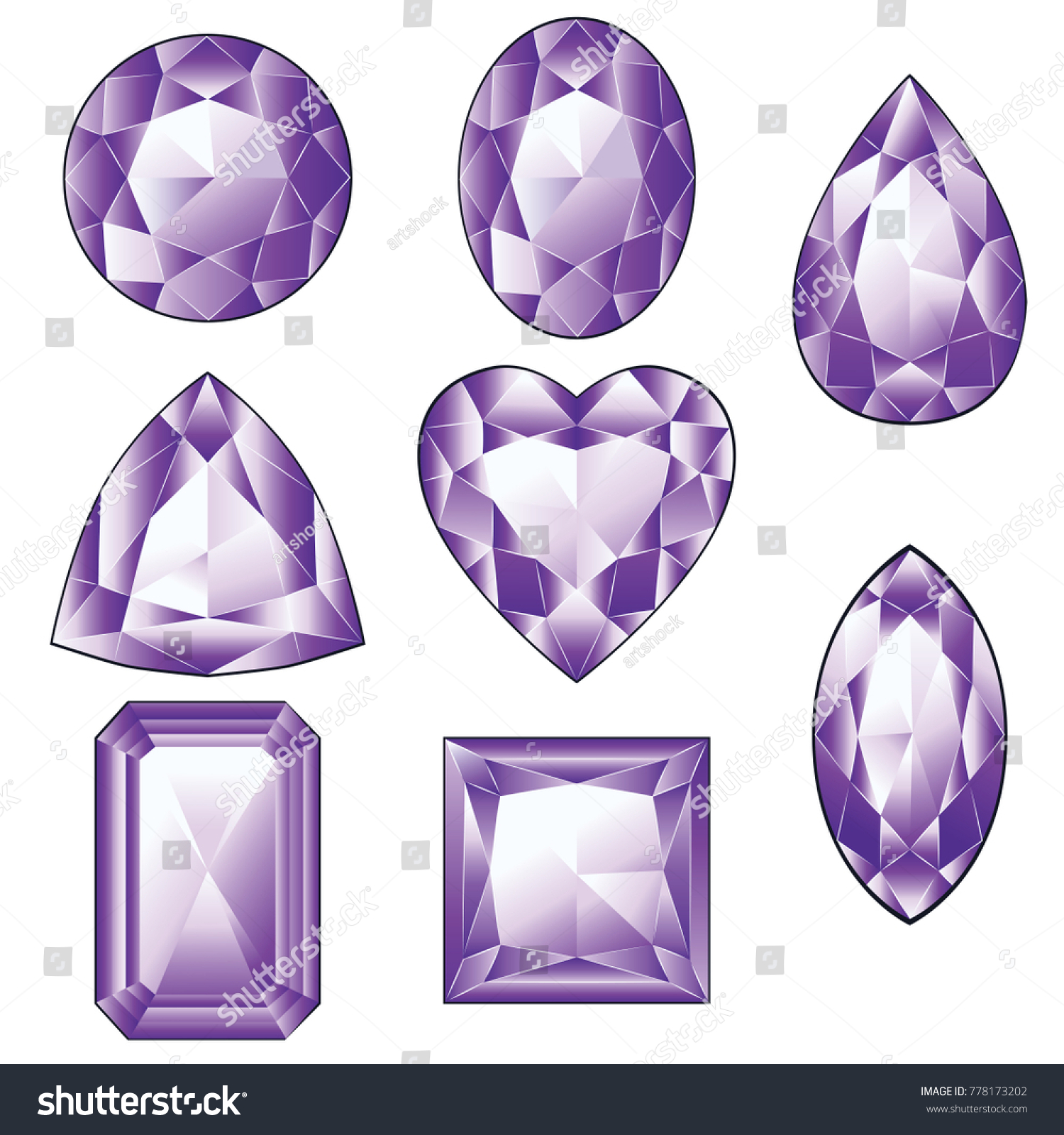 gem gemstones shutterstock stone stock amethyst set gemstone of photo violet illustration purple crystal watercolor collection image