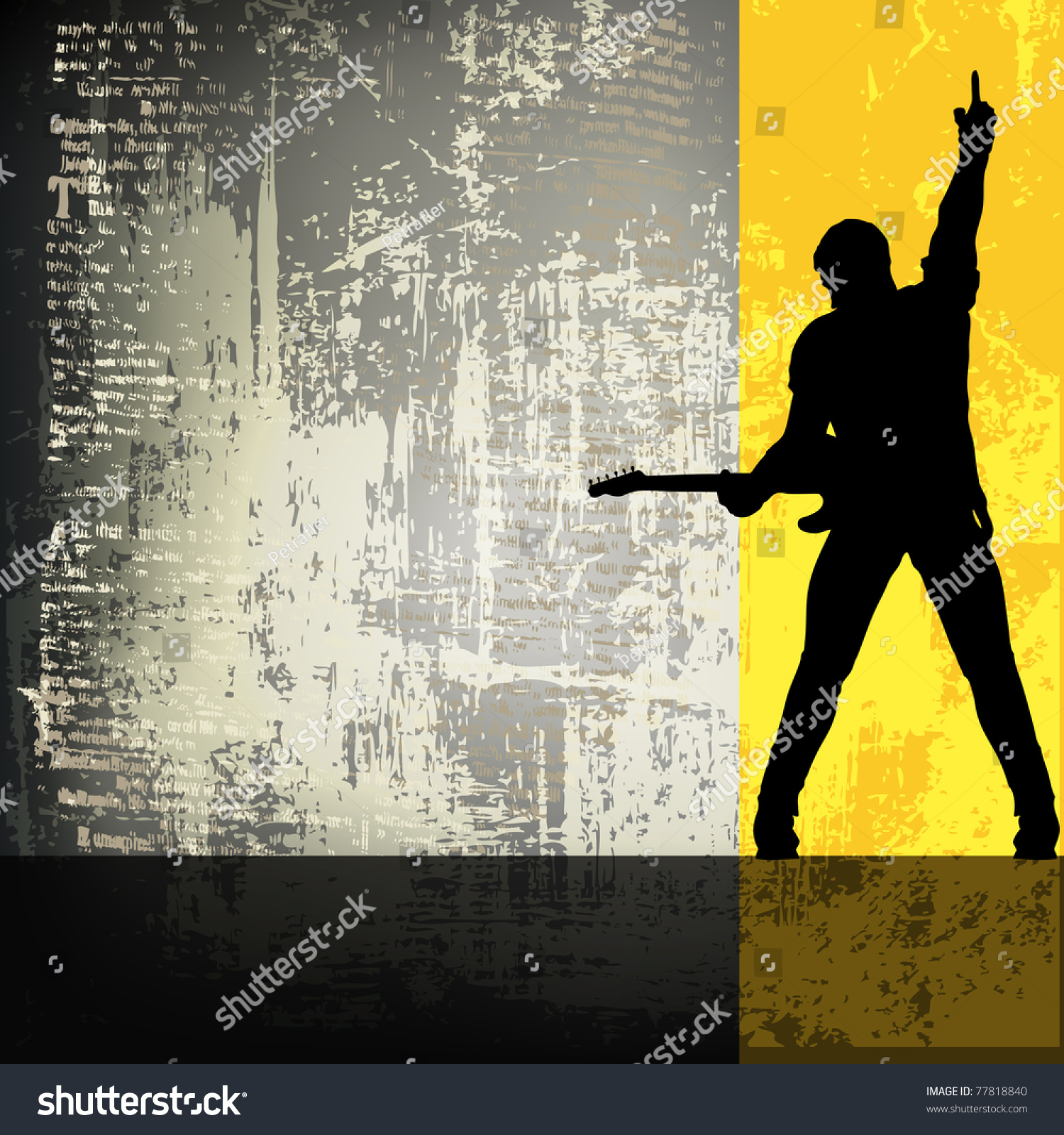 guitarist grunge backgroundflyer template stock