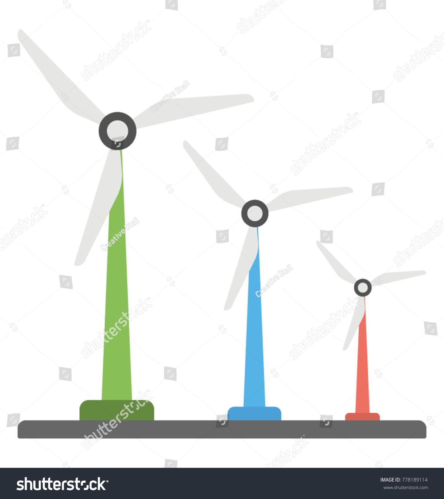 Flat Vector Design Wind Power Generator Stock Vector