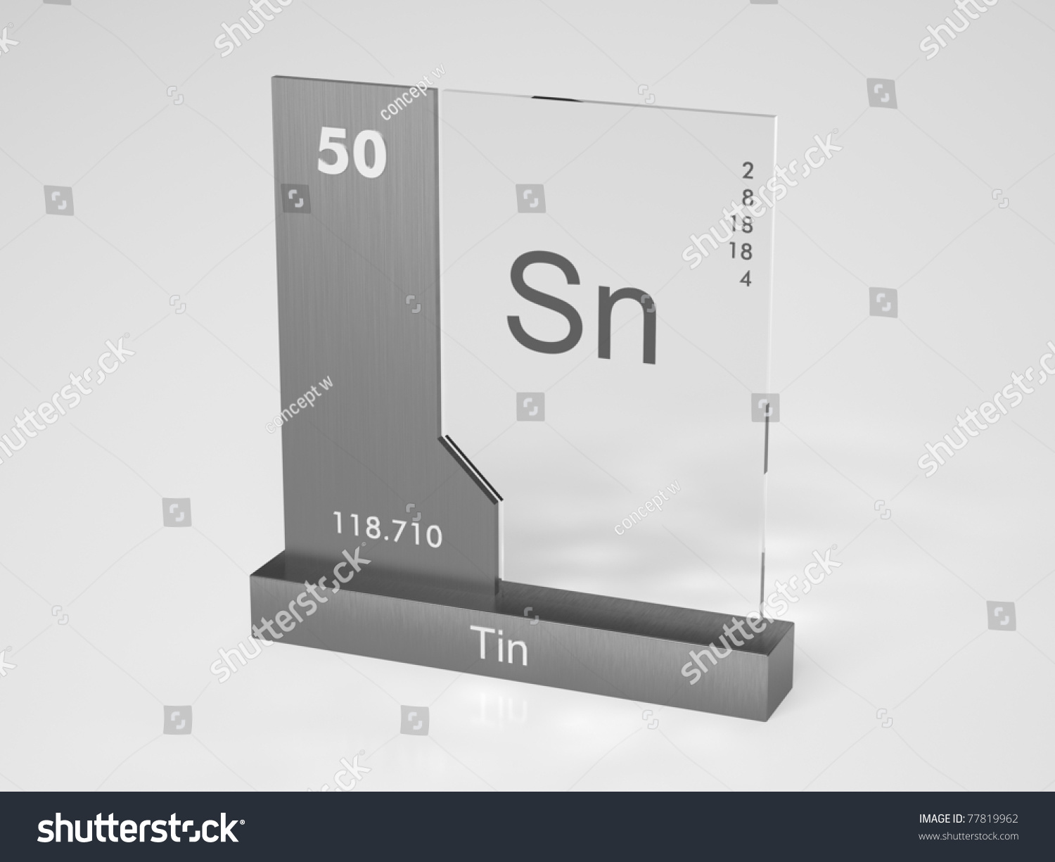 Tin Symbol Sn Chemical Element Periodic Stock Illustration 77819962