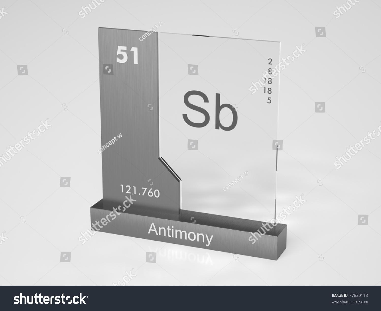 Antimony Symbol Sb Chemical Element Periodic Stock Illustration