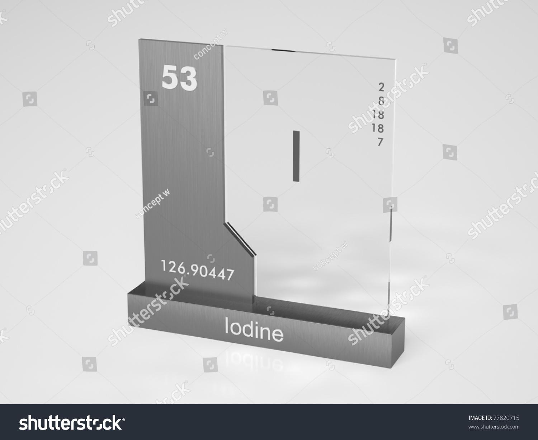 Iodine Symbol Chemical Element Periodic Table Stock Illustration