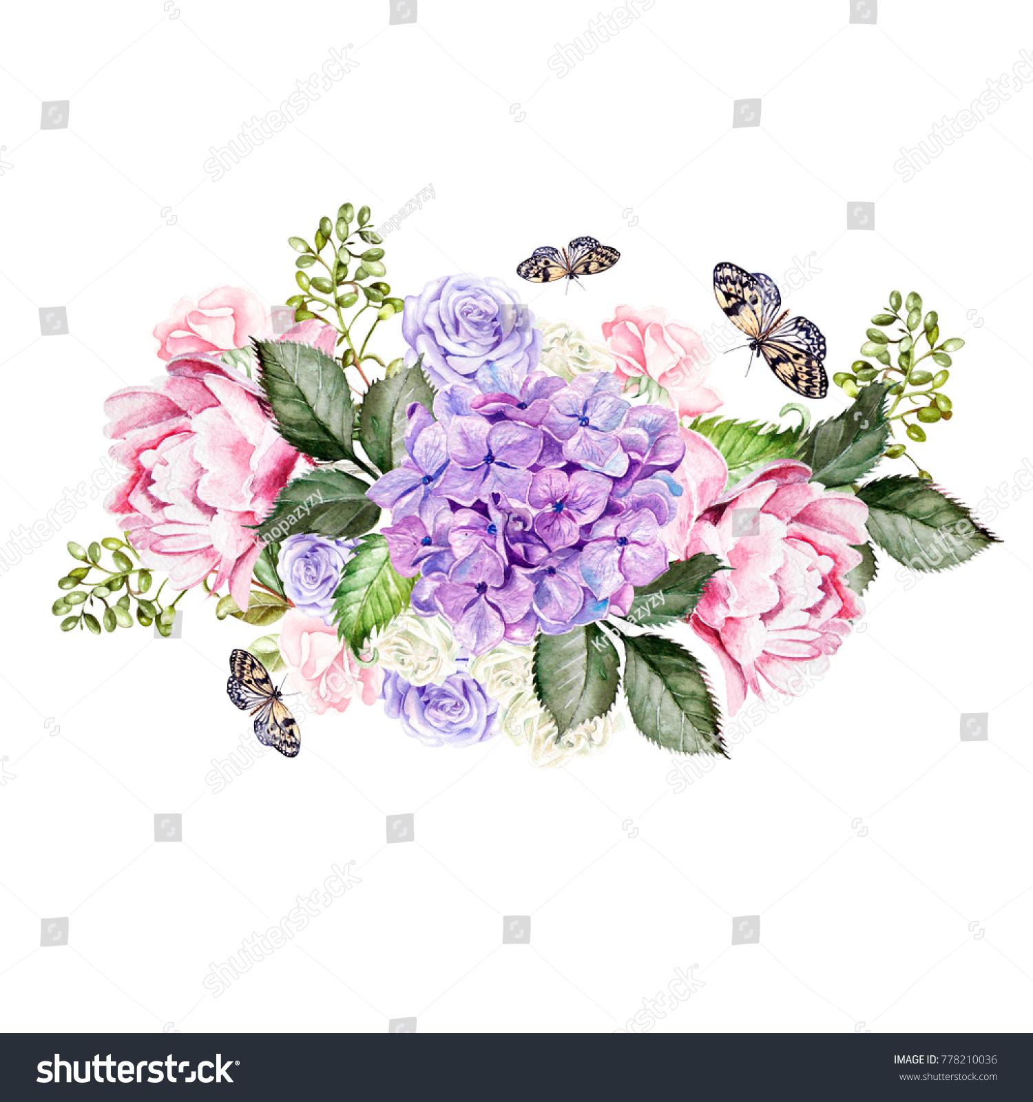 Watercolor Wedding Bouquet Rose Peony Hydrangea Stock Illustration ...