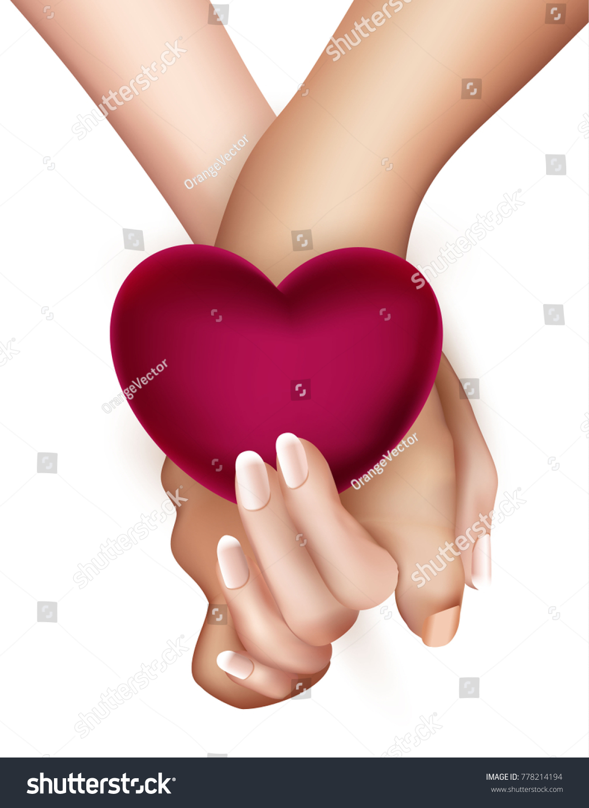 Realistic Holding Hands Heart Isolated Friendship Stock Vector ...