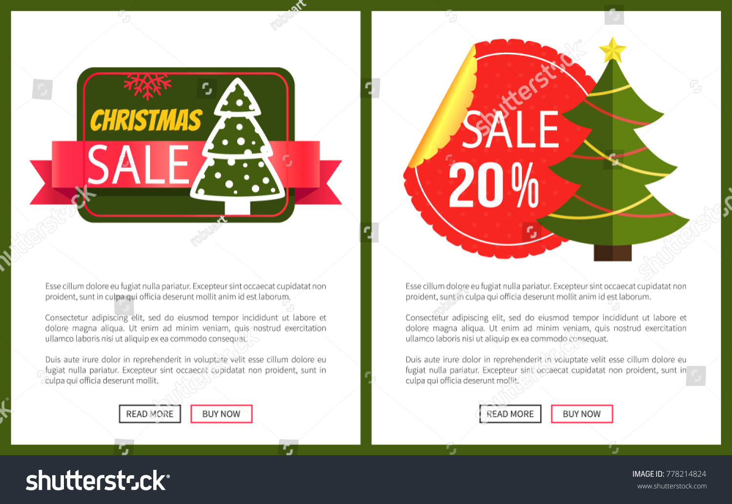 Two Best Christmas Sale Cards Vector Stock Vector (Royalty Free ...
