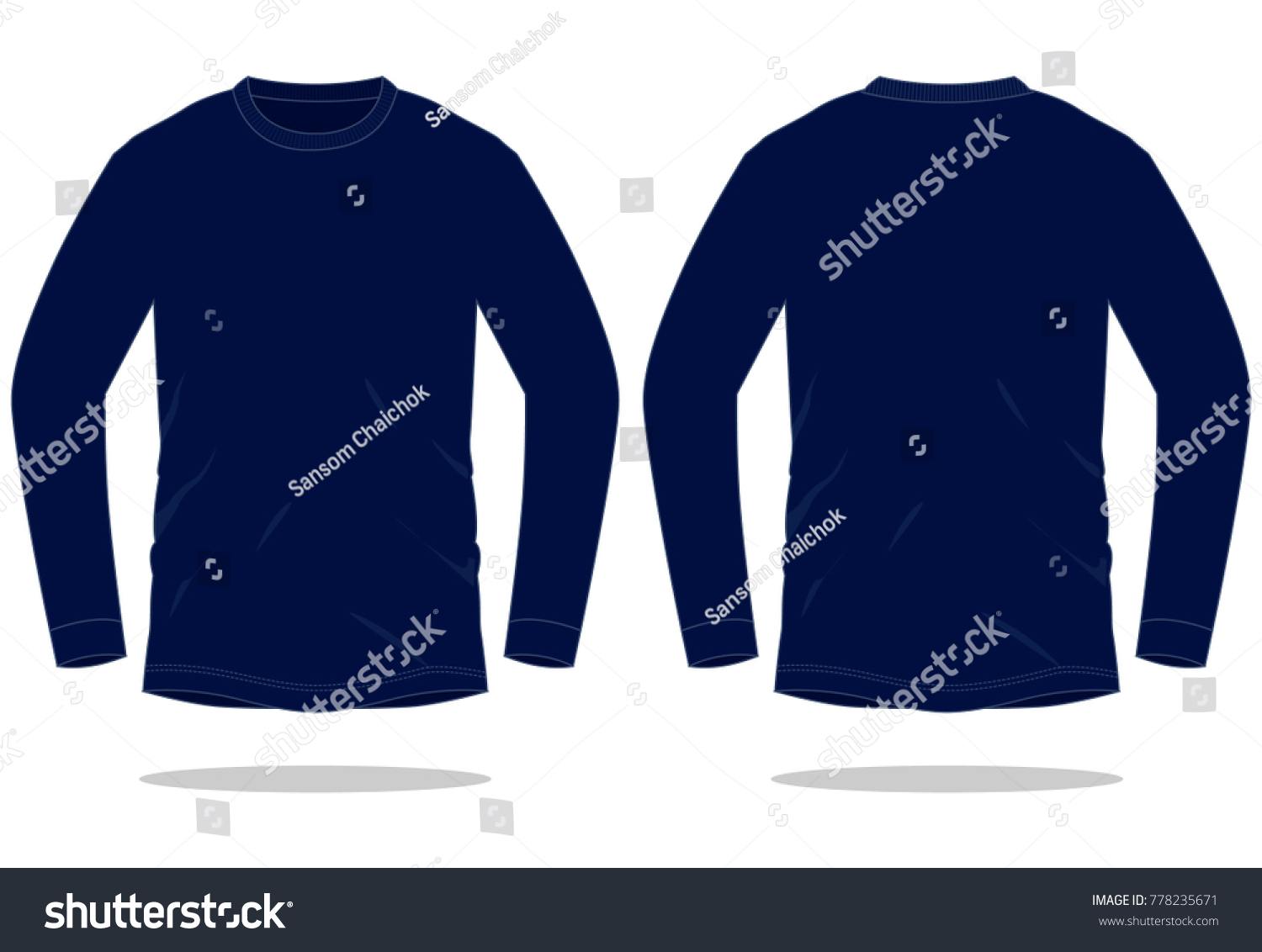 navy blue long sleeve t shirt stock vector 778235671