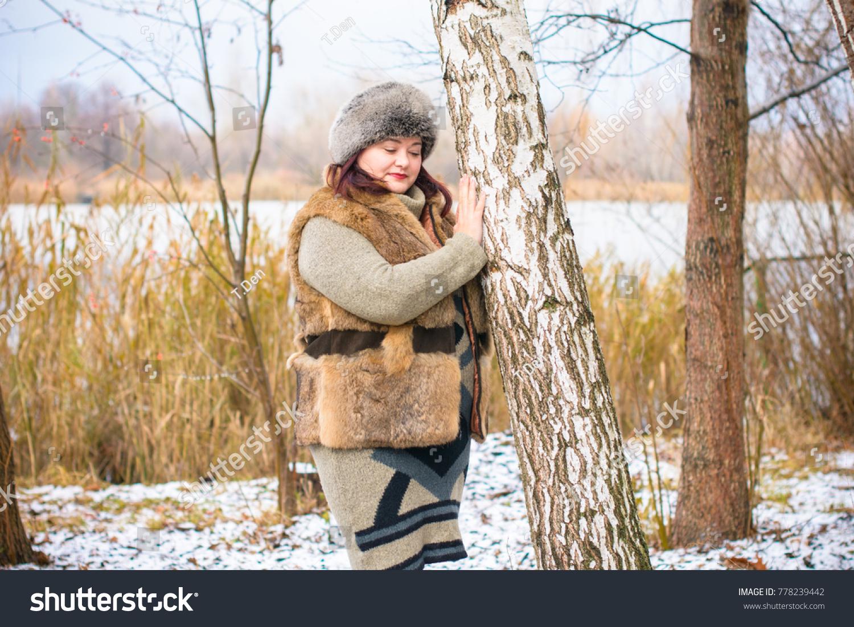fashionable mature plump adult woman wearing stock photo (royalty