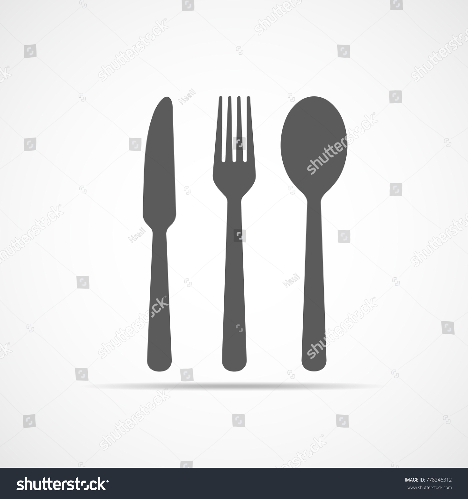 Knife Fork And Spoon Icon In Flat Design Vector Illustration Gray