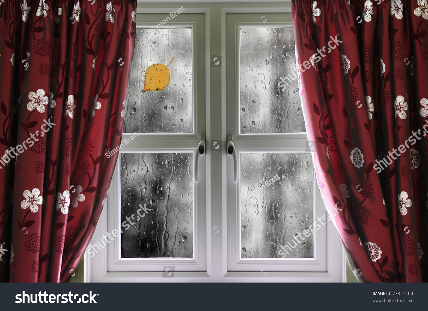 rain on a window with curtains stock photo 77825104 shutterstock. Black Bedroom Furniture Sets. Home Design Ideas