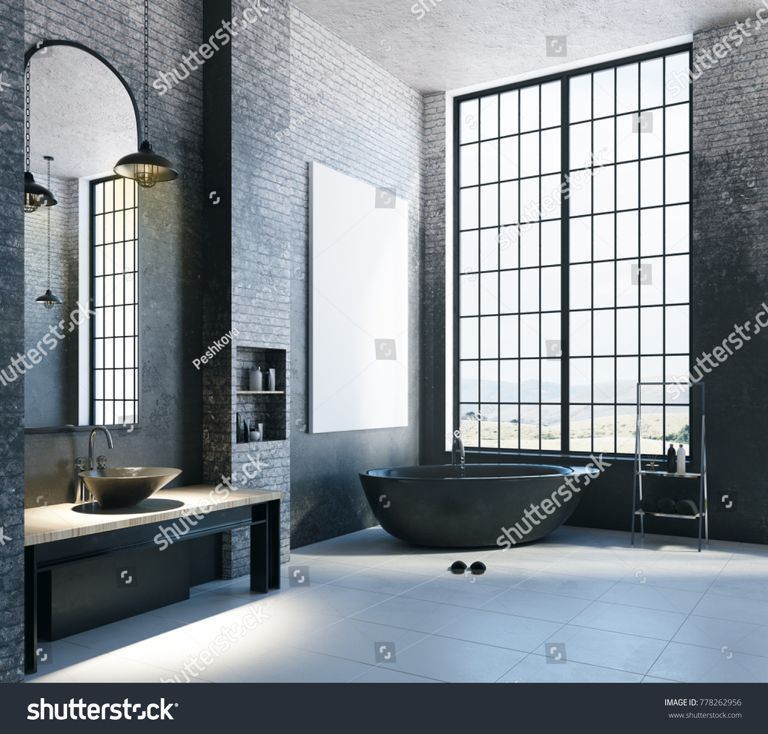 Modern Loft Bathroom Interior Appliances City Stock Illustration