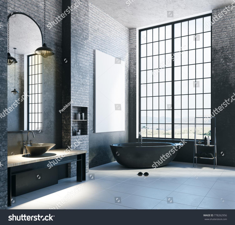 Modern Loft Bathroom Interior Appliances City Stock Illustration