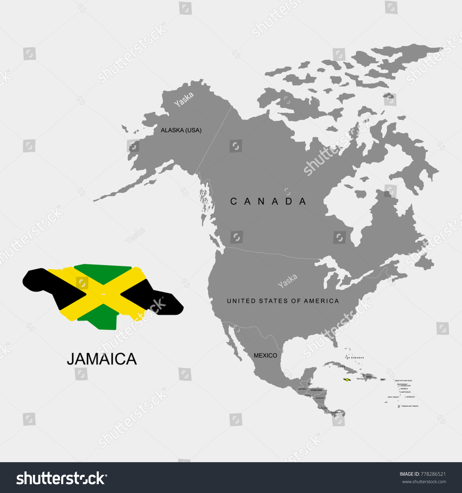 Territory Jamaica On North America Continent Stock Vector (Royalty ...