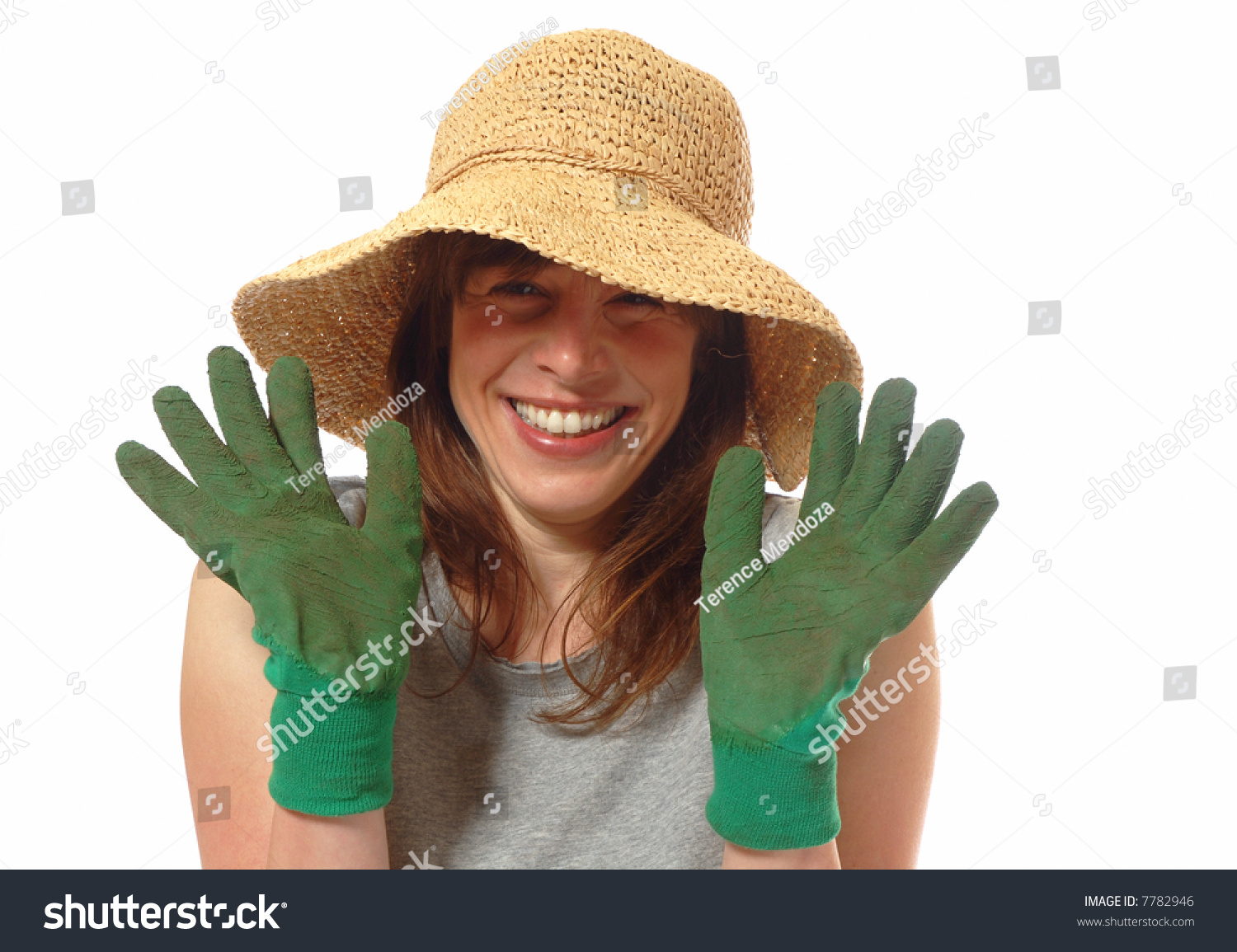 Cute Smiling Young Lady With Straw Hat U0026 Gardening Gloves, Isolated On White