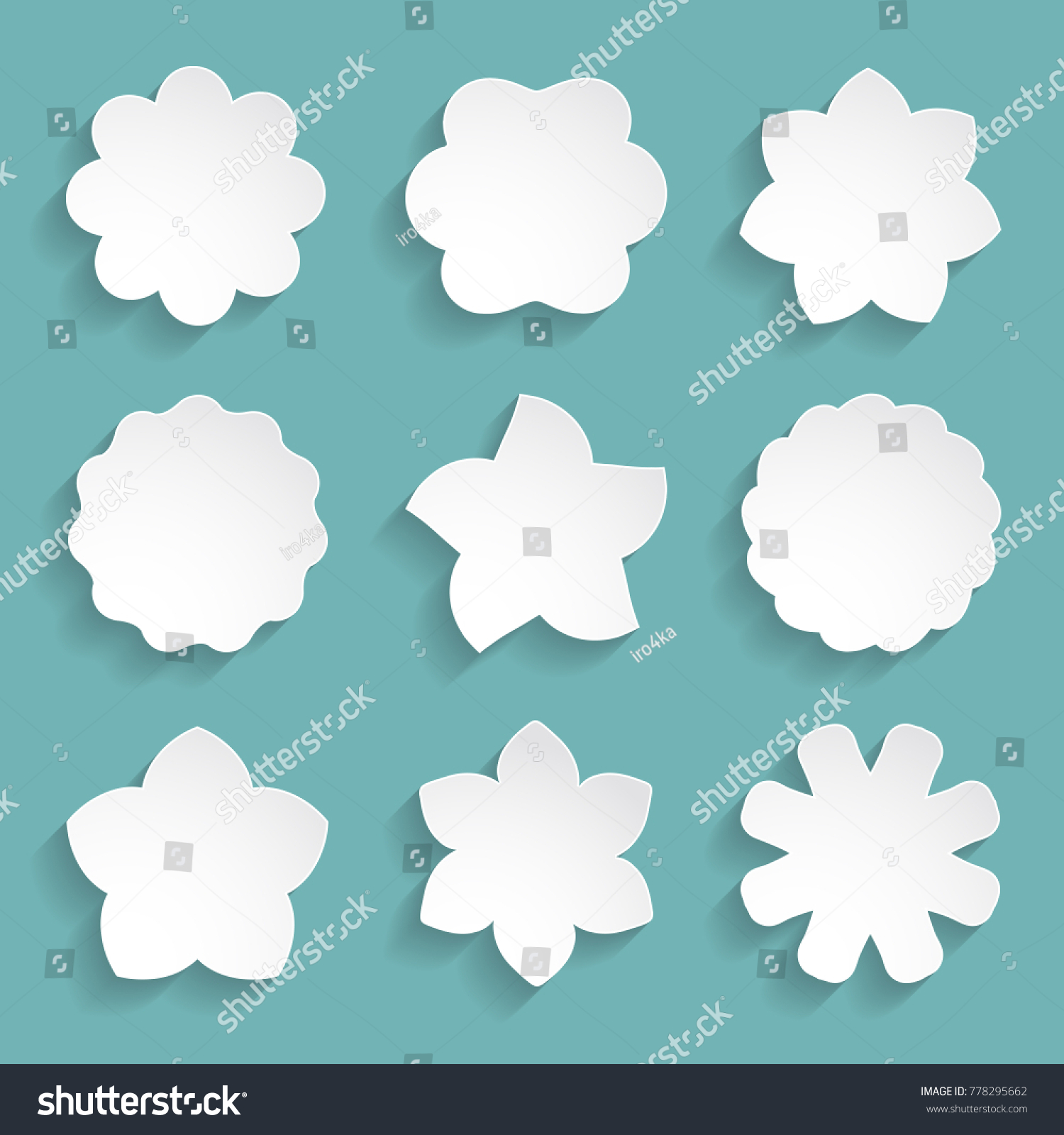Set 9 Paper Flower Shapes Stock Vector Royalty Free 778295662