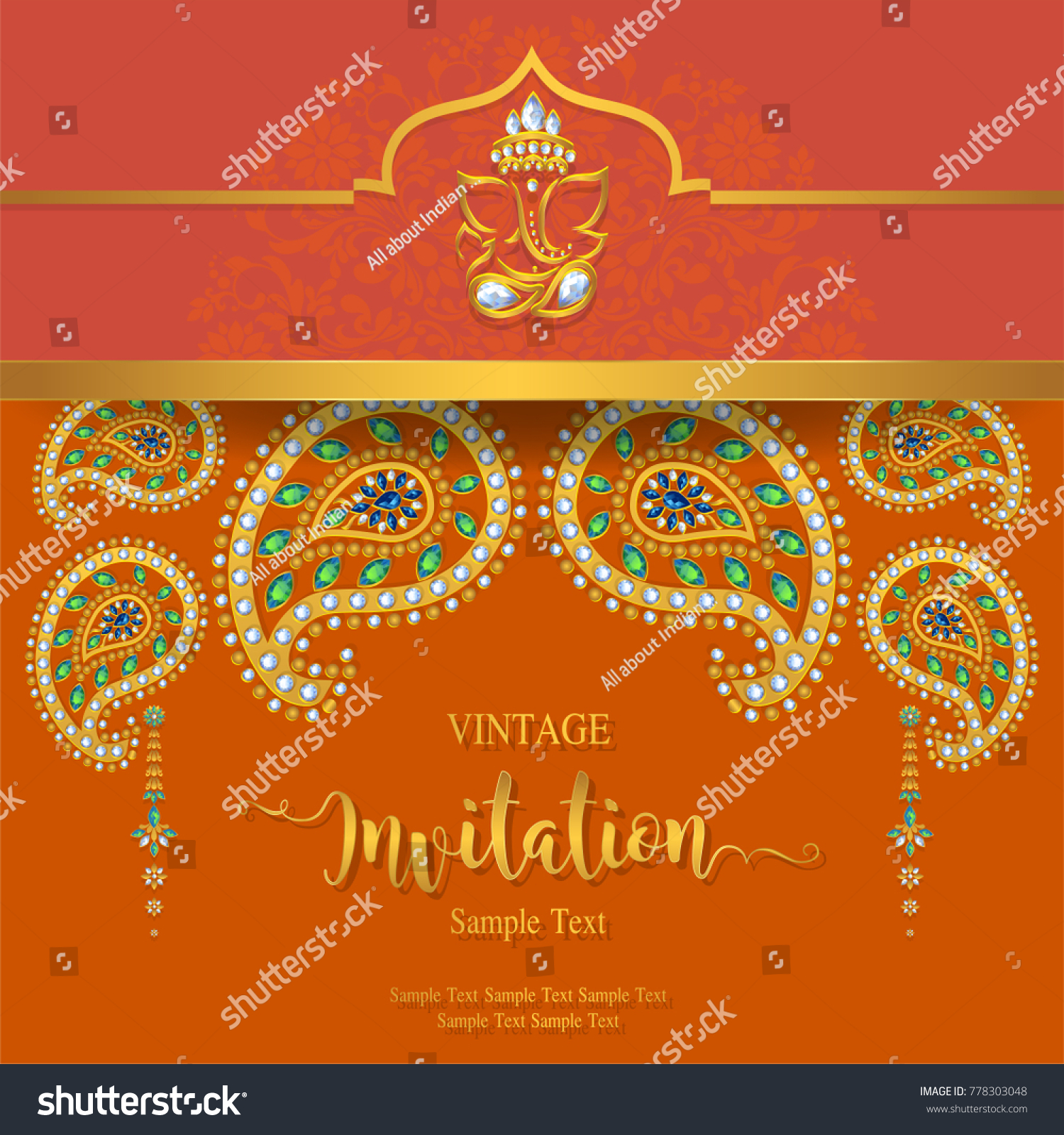 Indian Wedding Invitation Card Templates Gold Stock Vector (Royalty Free)  778303048