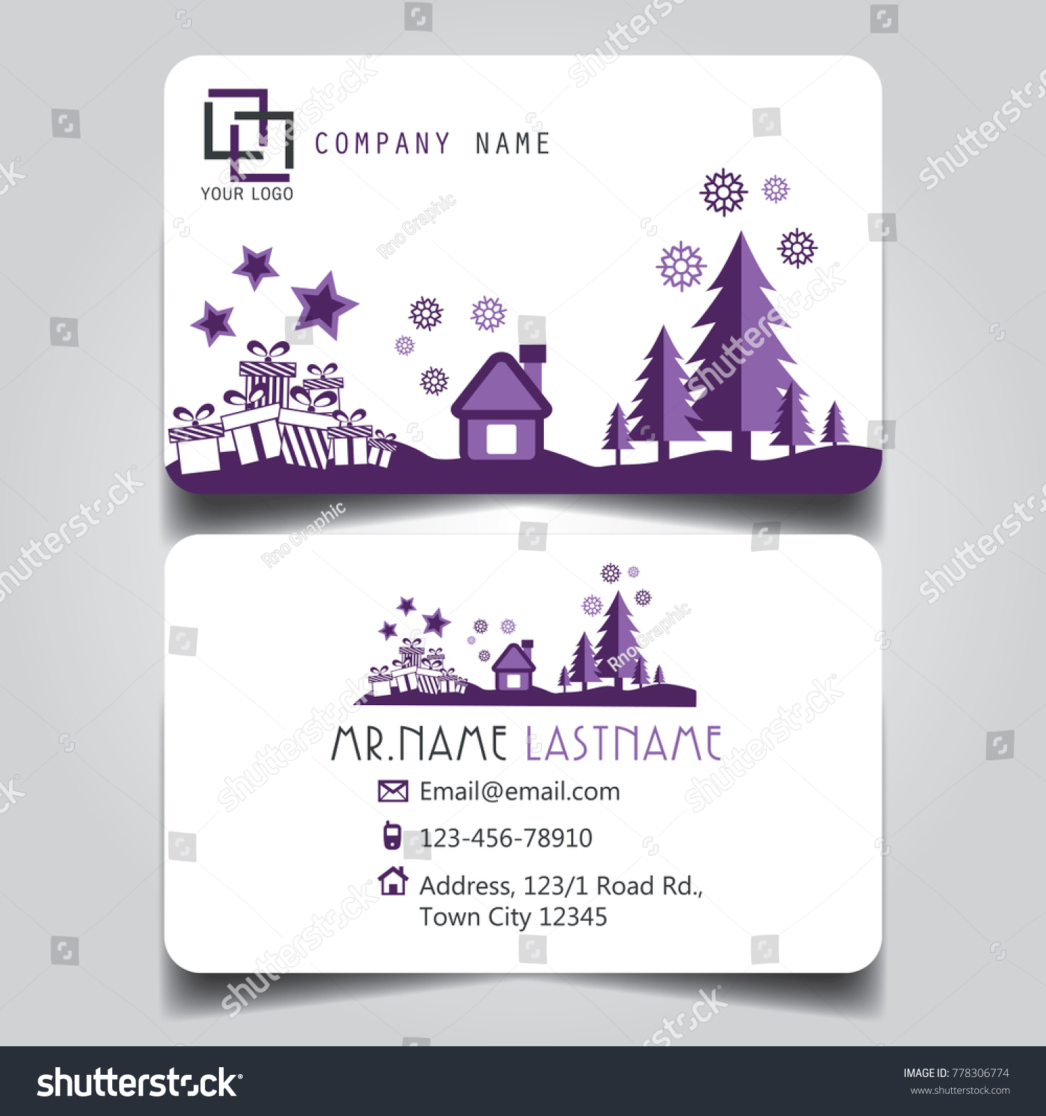 Christmas Purple White Theme Creative Business Stock Vector (Royalty ...