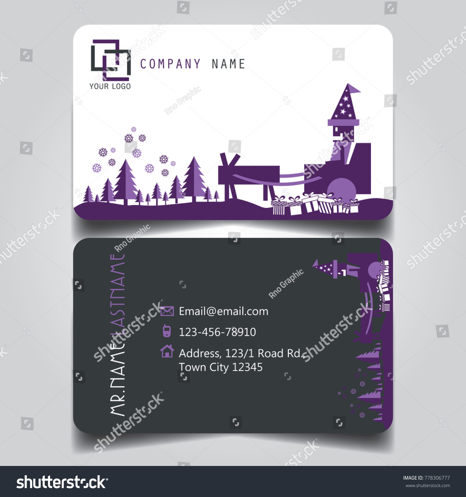 Christmas Purple White Black Theme Creative Stock Vector (Royalty ...