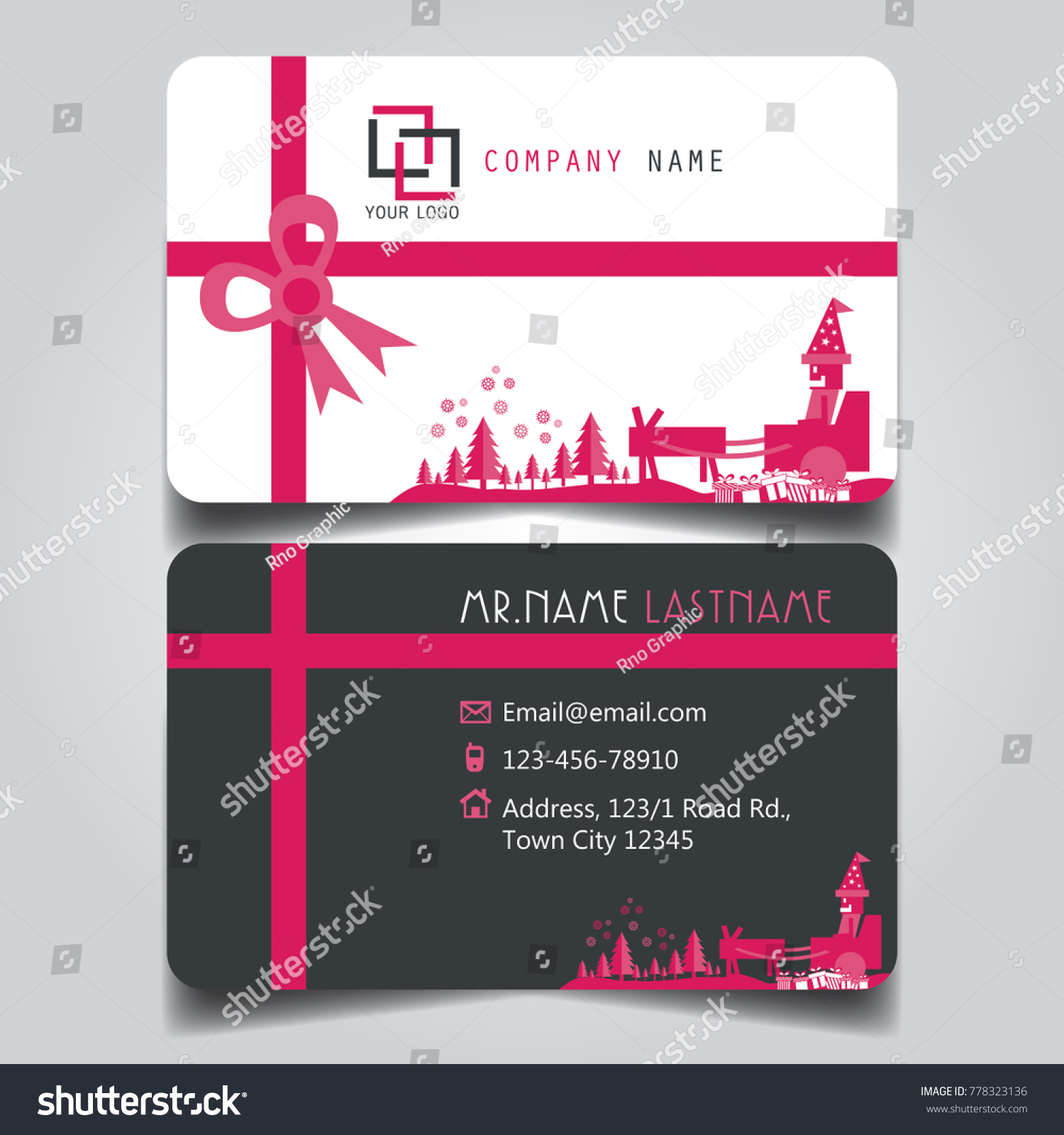 Christmas Pink White Black Theme Creative Stock Vector 778323136 ...