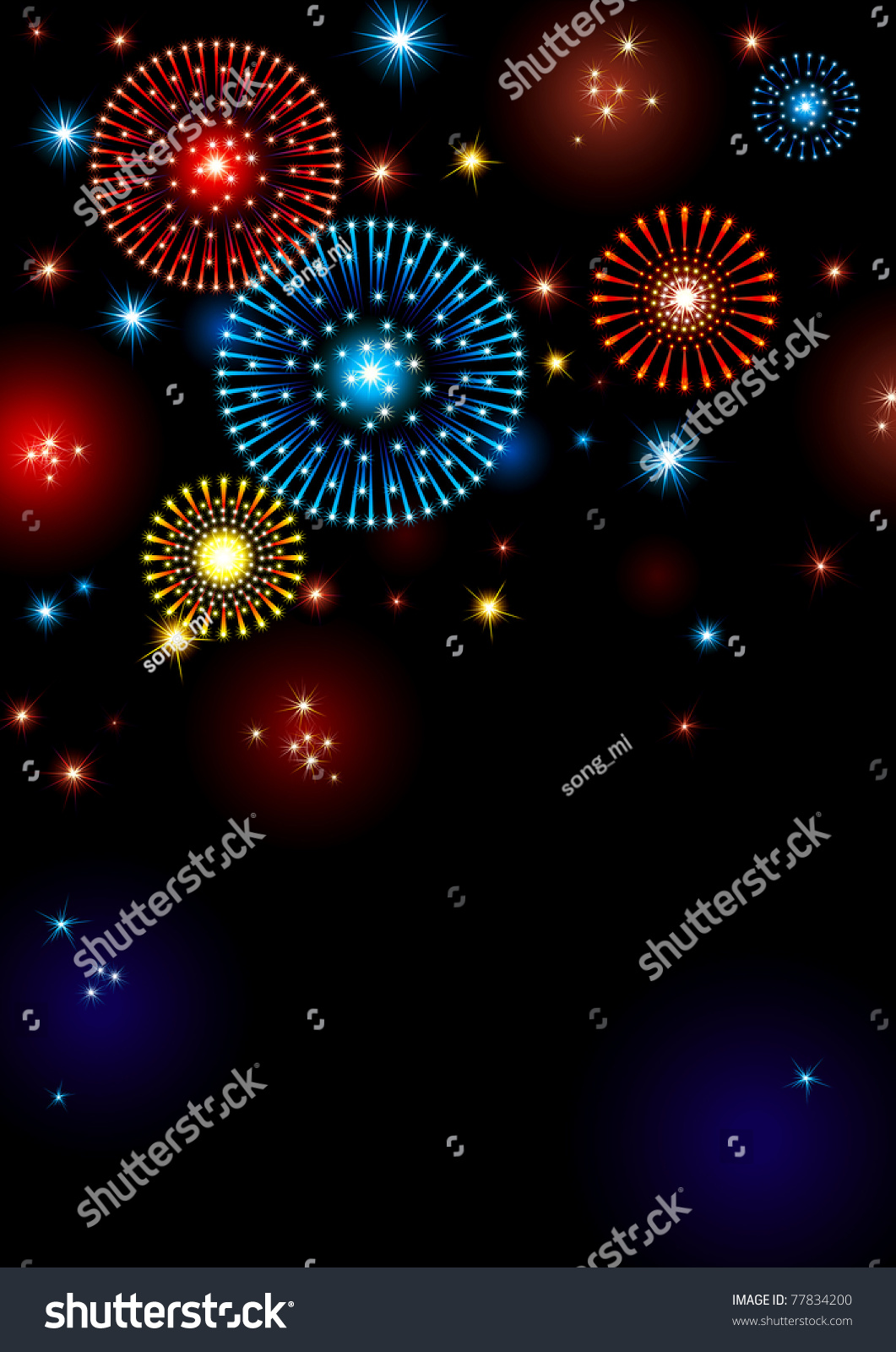 Holiday Fireworks Vertical Vector Background With Many Stars And On Night Dark Sky