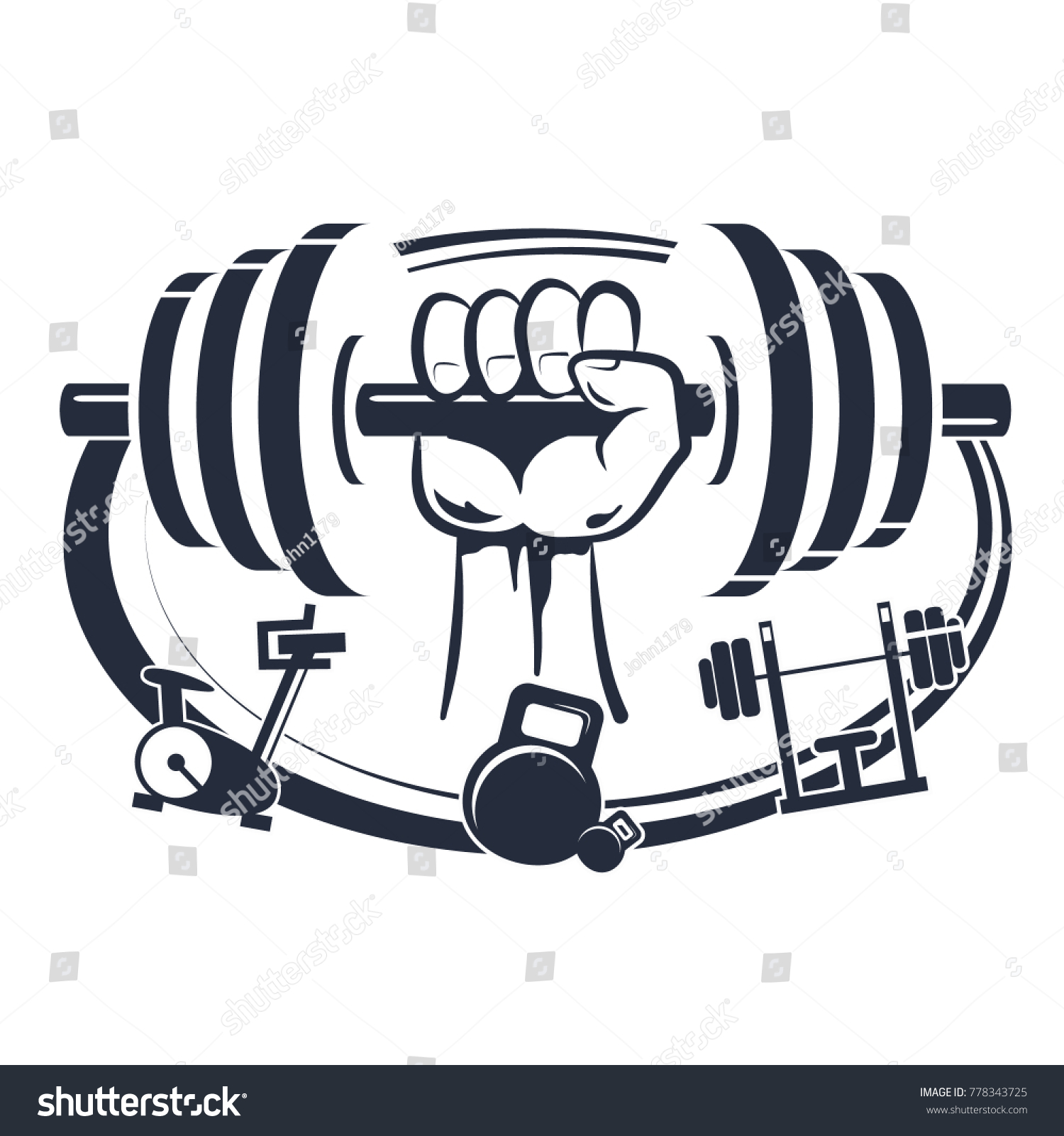 Dumbbell Hand Symbol Workout Gym Fitness Stock Vector Royalty Free