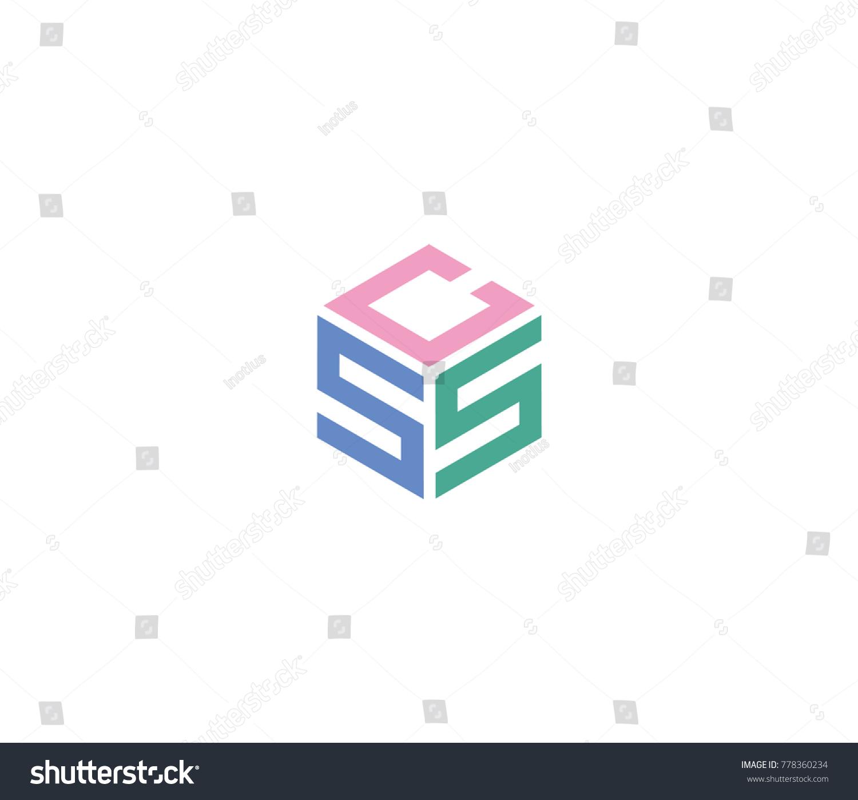 CSS Letter Hexagon Logo CSS Letter Stock Vector (Royalty