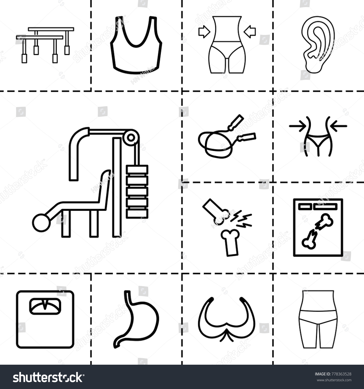 Body icons set 13 editable outline stock vector 778363528 shutterstock body icons set of 13 editable outline body icons such as bra jump rope buycottarizona Gallery