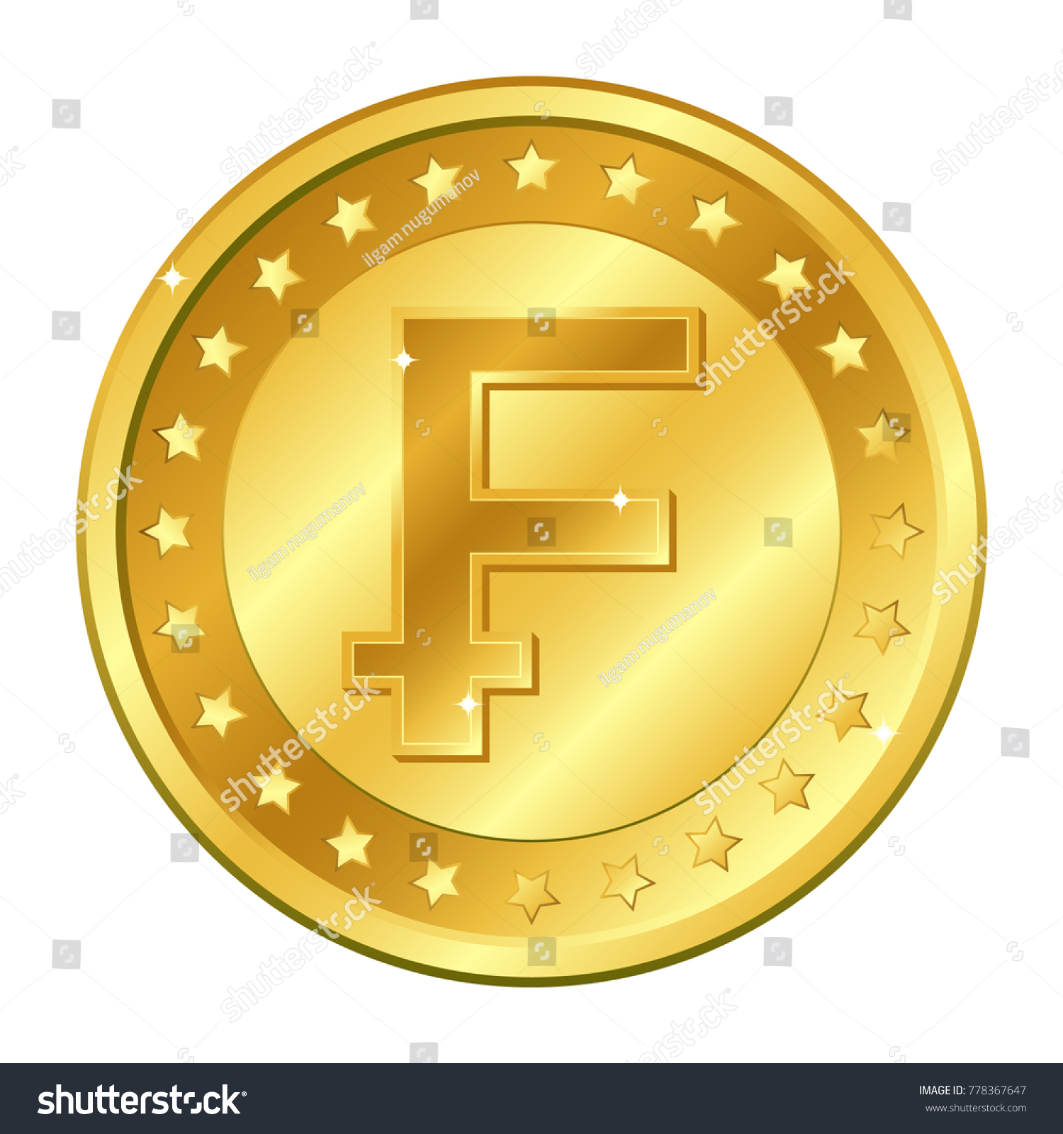 Swiss franc currency gold coin stars stock vector 778367647 swiss franc currency gold coin with stars switzerland sign vector illustration isolated on white buycottarizona Images