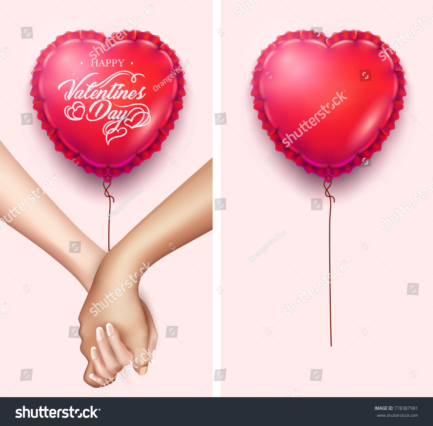 Realistic Holding Hands Heart Shape Air Stock Vector 778387981 ...
