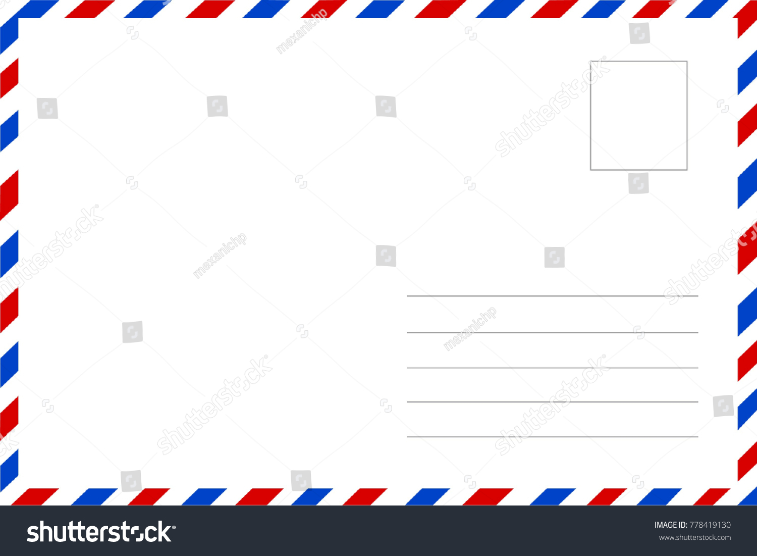 Greeting Card Traditional Postcard Lines Name Stock Vector Royalty