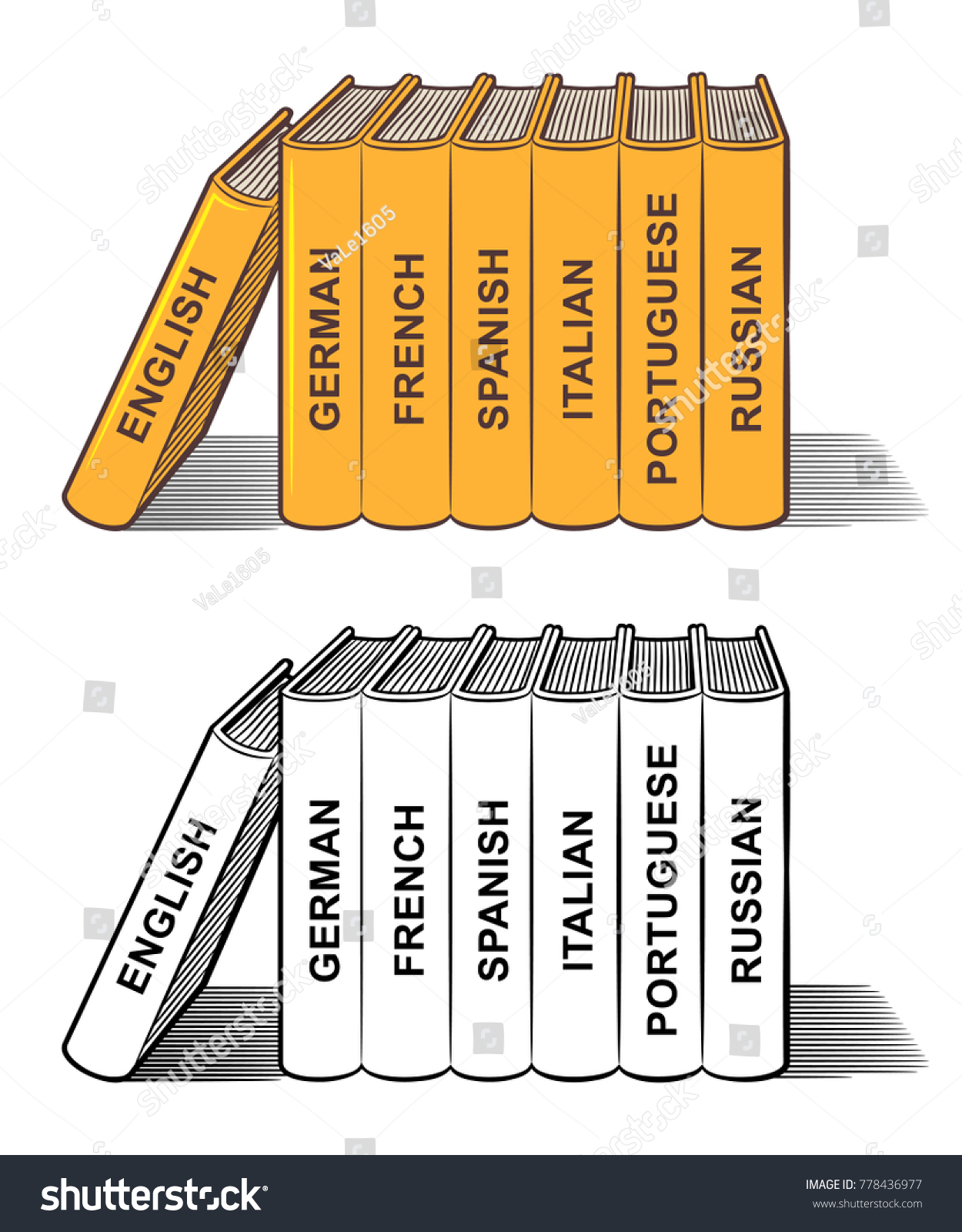 Stack Language Textbooks English German French Stock Vector