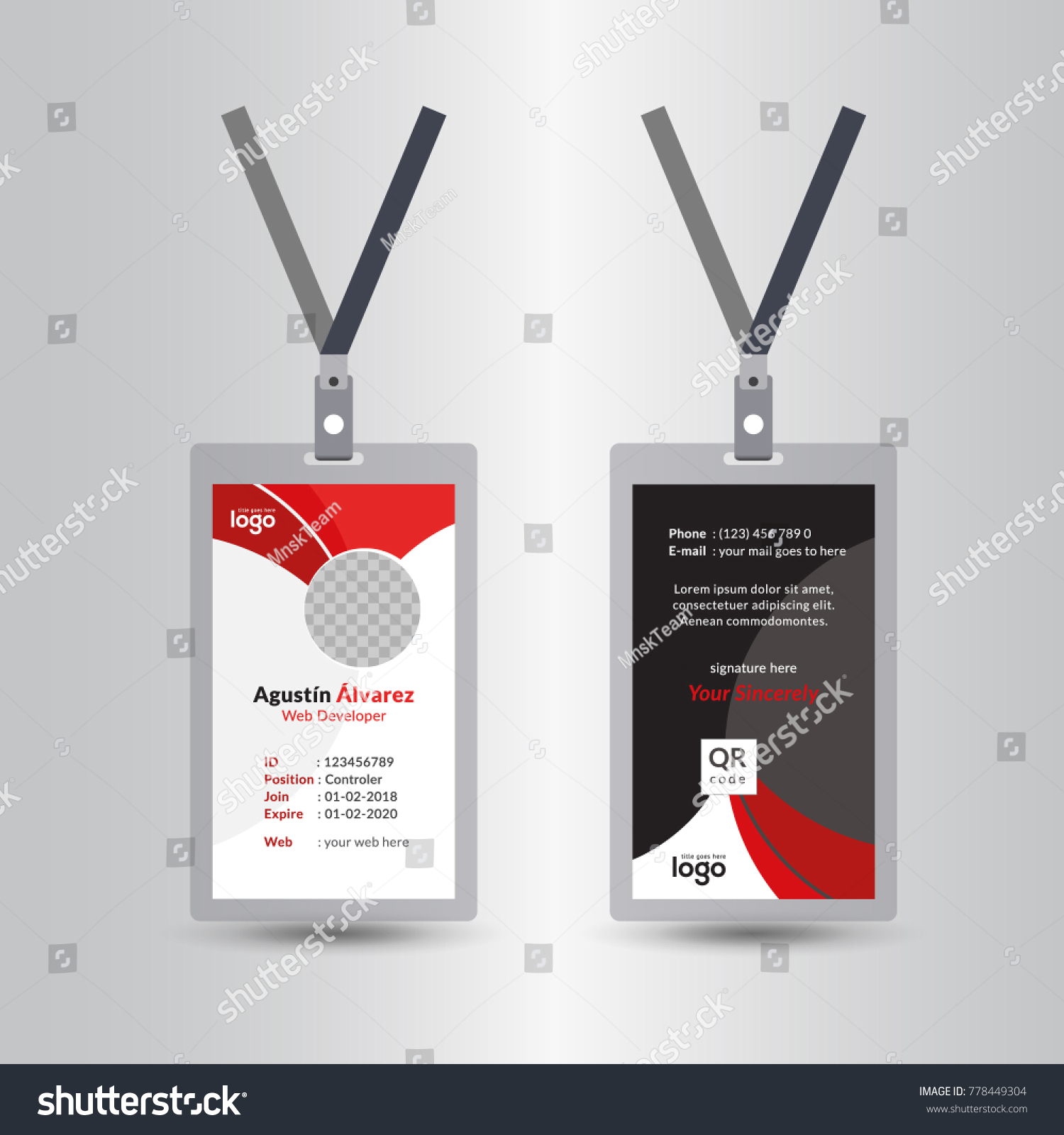 Creative Simple Red Black Id Card Stock Vector (Royalty Free ...
