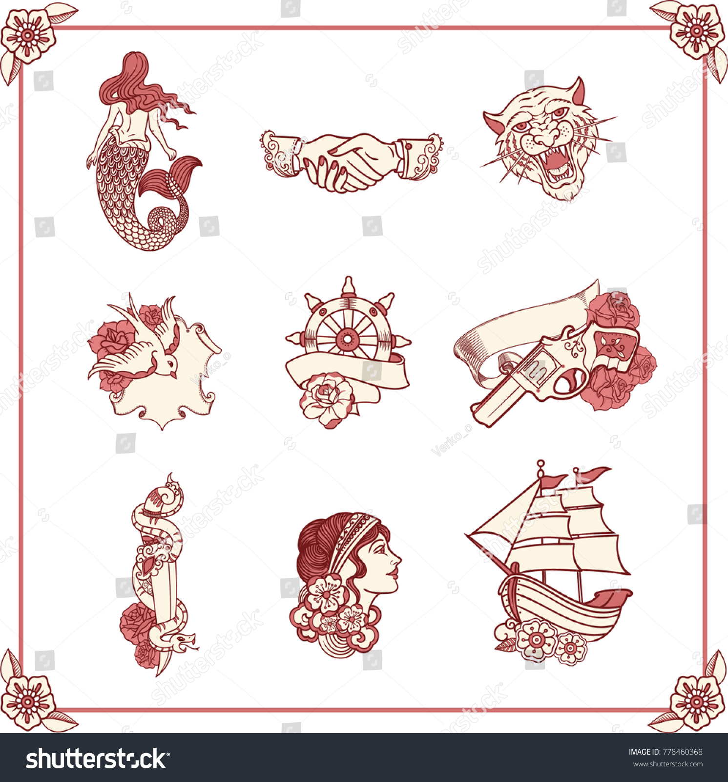Vintage Tattoos Classic Old School Style Stock Vector Royalty Free
