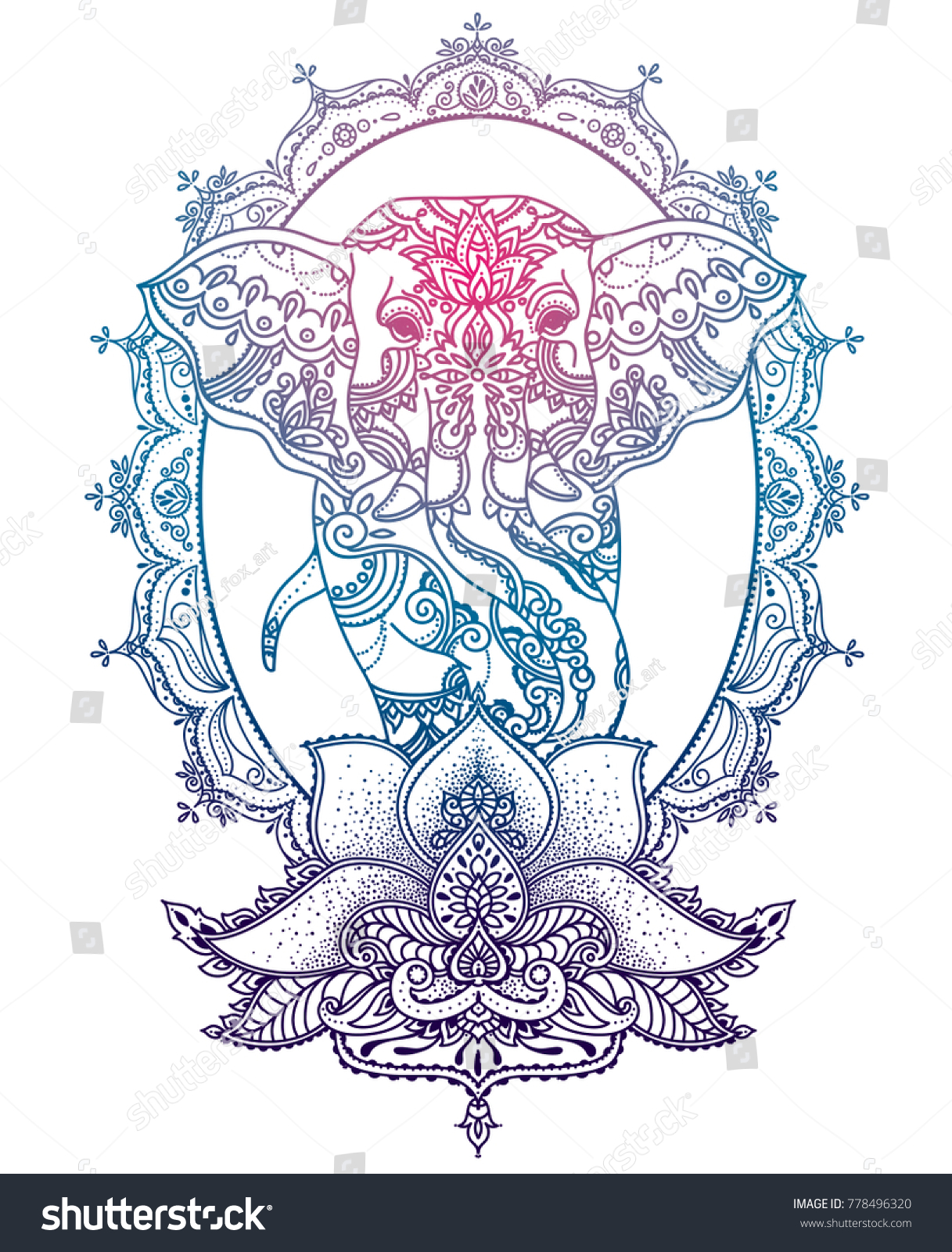 Elephant Royal Frame Stylized Lotus Flower Stock Vector Royalty