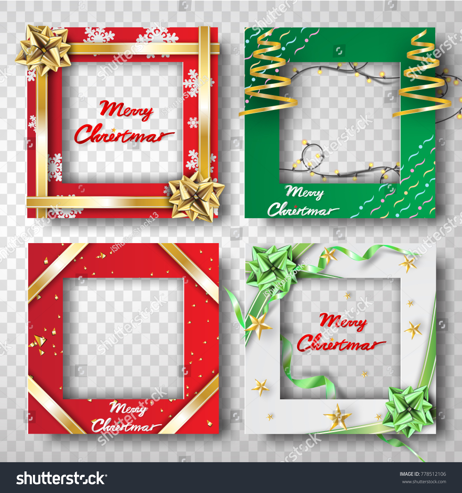 Paper Art Craft Christmas Border Frame Stock Vector Royalty Free